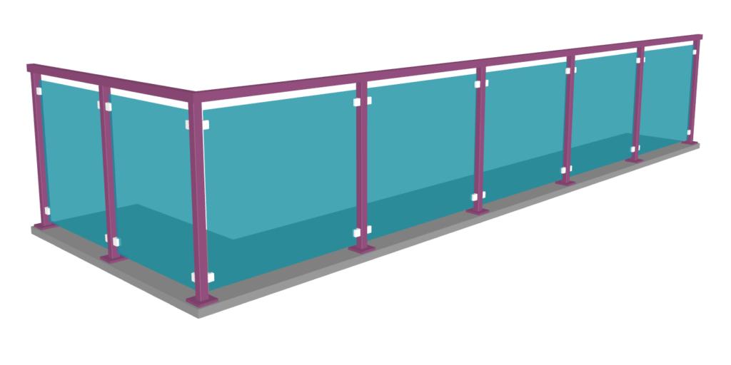 Suunnittele ainutlaatuinen lasikaiteesi haluamallasi värillä. Maalatut tolpat ja värillinen lasi